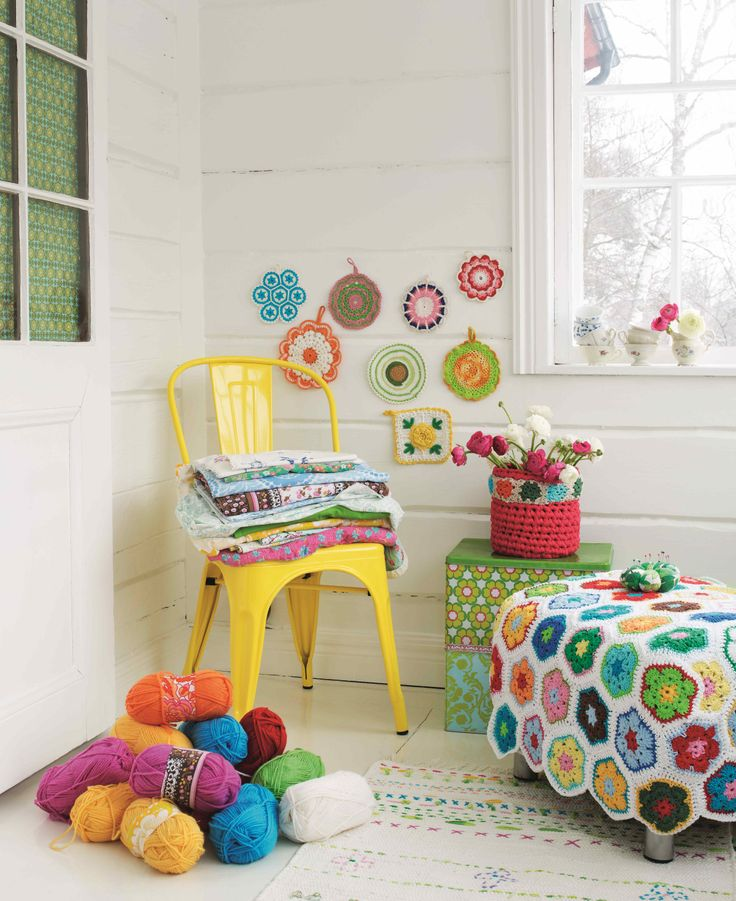 We'd like to live here please! This lovely image is from this new book: http://www.amazon.co.uk/Fun-Yarn-Fabric-Projects-Embroider/dp/1626360227