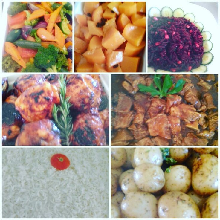 South African seven colors meal by Ilki, food done chic. Rice, baby potatoes, Grilled chicken, Beef stew, Vege ensemble, Butternut, Beetroot salad.