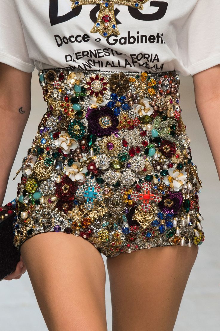 Dolce Gabbana at Milan Spring 2017 bejeweled shorts                                                                                                                                                                                 More