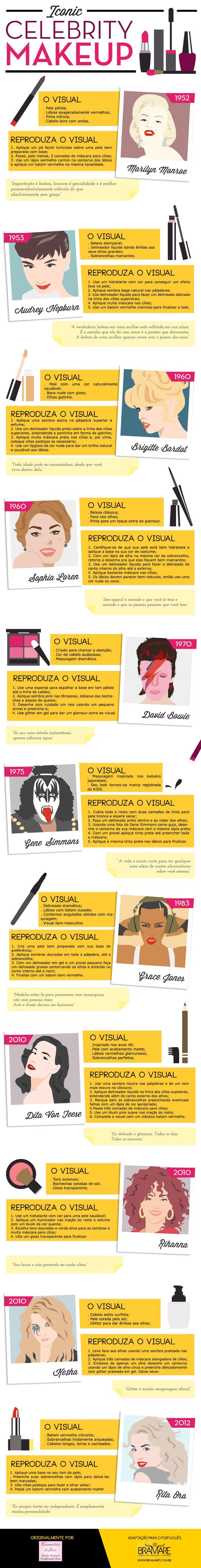 Cosmetics4less PortuguesPISCA Infográfico da Beleza: Maquiagens icônicas!