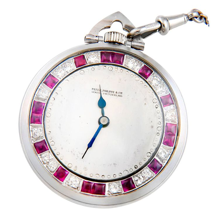 Platinum, diamonds and ruby pocket watch by Patek Philippe retailed by Tiffany & Co. Switzerland c. 1930s