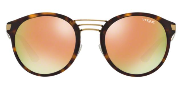 Vogue Round Sunglasses Havana with Rose Gold Mirror Lenses ONLY $50 at Sunglass Oasis Online!!