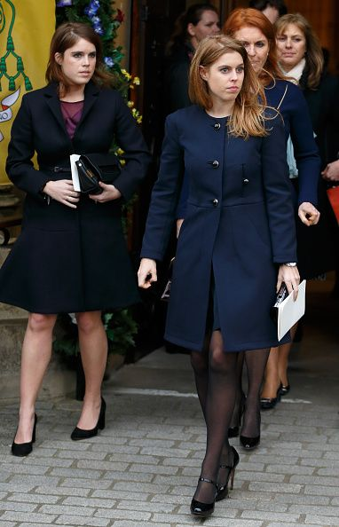 Princess Eugenie, Princess Beatrice and Sarah Ferguson, Duchess of York attend a memorial service for Miles Frost at Arundel Cathedral on February 5, 2016 in Arundel, England. Miles Frost, son of the late Sir David Frost, died aged 31 in July 2015.