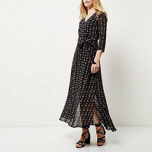 Black print flowing maxi dress - maxi dresses - dresses - women