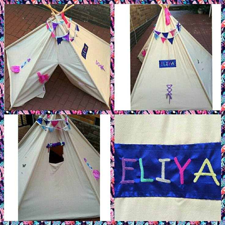 Teepee embellishment.  A very excited 3 year old called Eliya was enchanted by her personalised teepee. For one-of-a-kind gifts, email us at info@sgtcreations.co.za