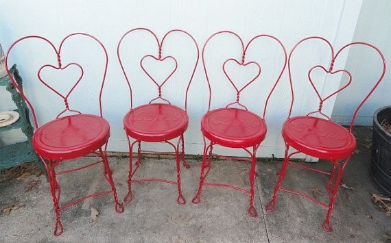Vintage Red Wrought Iron Chair Ice Cream Parlor Chairs  Cafe Coors Seats Set of 4 on Etsy, $240.00