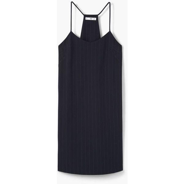 MANGO Spaghetti Strap Dress (1,375 DOP) ❤ liked on Polyvore featuring dresses, vestidos, thin strap dress, mango dresses, pinstripe dress, v-neck dresses and v neck dress