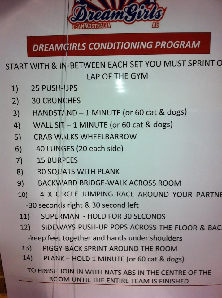Dreamgirls cheerleading conditioning