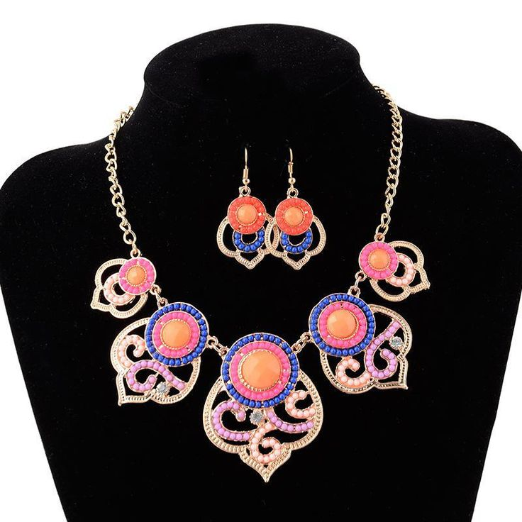 URORU Bohemian Necklace earrings jewelry sets Necklaces & pendants women statement accessories 2017 Ethnic bijoux indian fashion #Indian fashion