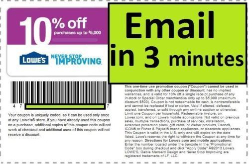 Coupons: (1) One Lowes 10% Off Printable-Coupons - Exp 2/28/17 - Fast Email Delivery BUY IT NOW ONLY: $1.59