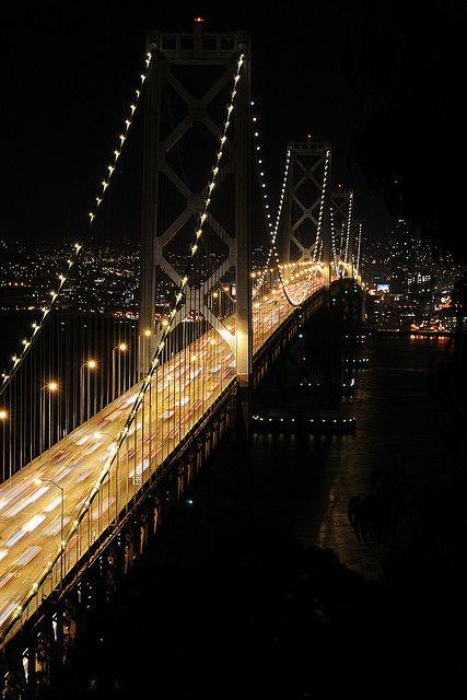 Bay Bridge illuminated  - San Francisco