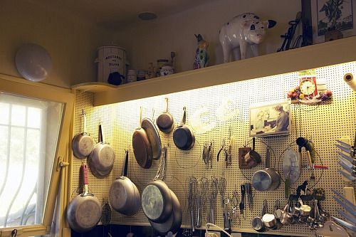 Julia Child's kitchen wall at her cottage in France