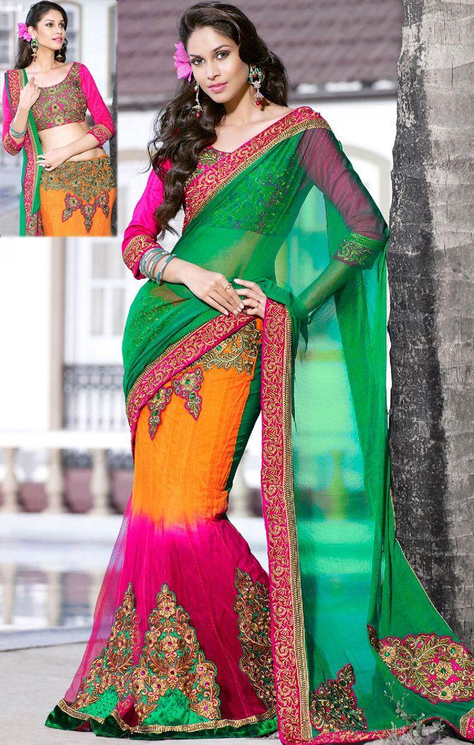 Saree Fashion - Multicolor Net #Lehenga Style #Saree | @ $111.31