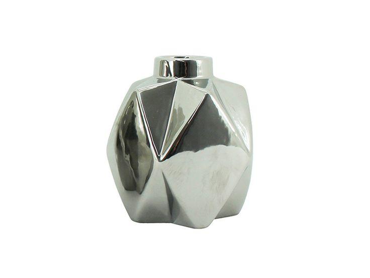 Bry Vase Silver - 11cm from www.designarthouse.com.au.  Bry Vase Silver   Dimensions: 10cm x 10cm x 11cm