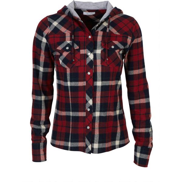 Hooded Plaid Flannel Shirt (28 CAD) ❤ liked on Polyvore featuring tops, shirts, jackets, plaid, outerwear, plaid shirt, button down shirt, long sleeve plaid shirts, plaid flannel shirt and red flannel shirt