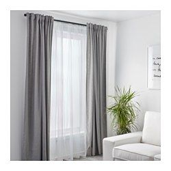 IKEA - TERESIA, Sheer curtains, 1 pair, , The sheer curtains let the daylight through but provide privacy so they are perfect to use in a layered window solution.The slot heading allows you to hang the curtains directly on a curtain rod.