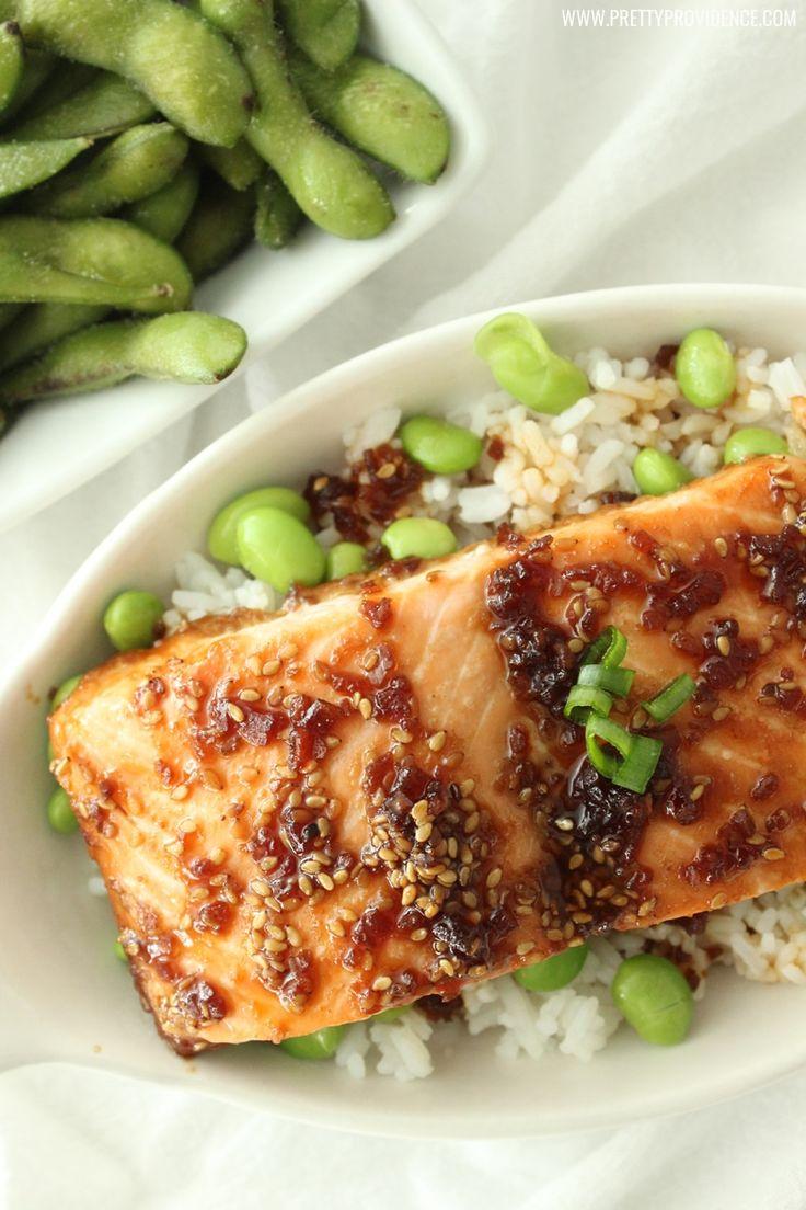 Easy salmon teriyaki recipe with edamame rice! Delicious.