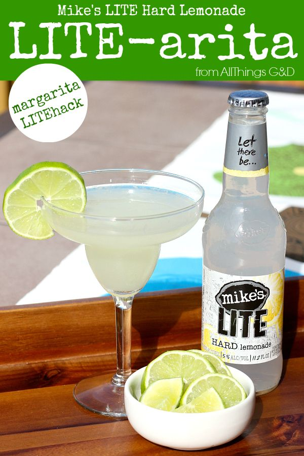 A low-cal #LITEhack margarita made with Mike's LITE Hard Lemonade and only 2 other ingredients! #allthingsgd by All Things G&D