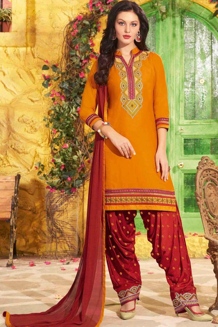 Yellow & Red Unstitch Cotton Patiala Suit