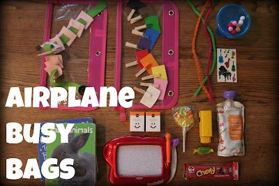 Airplane Busy Bags for Toddlers I need to make a few of these for Rylee before we go on our vacation