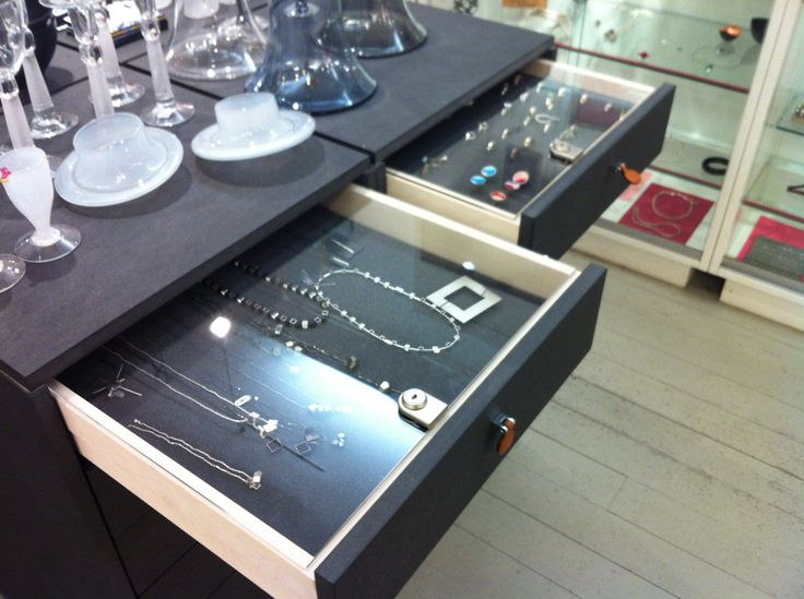 "The ""help yourself"" jewellery drawers at Konsthantverkarna."