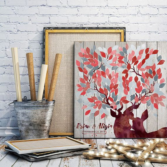 Rustic wedding guest book alternative in red & by LovaluDesign