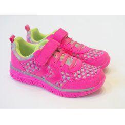 Girls Flourescent Pink Trainer - Hummel Crosslite II Knockout Pink Trainer