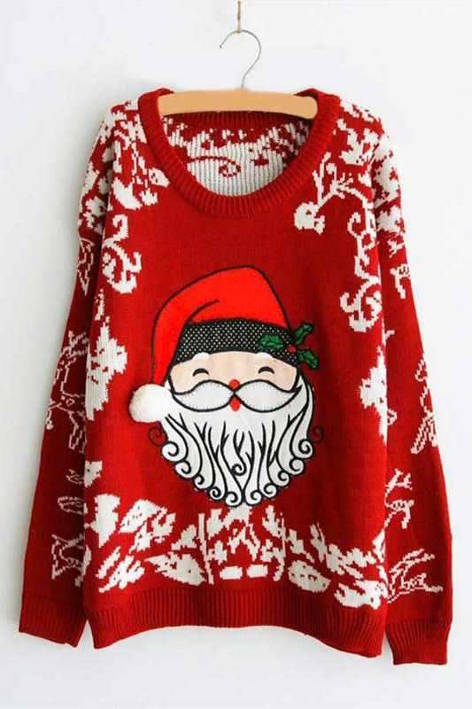 c9b59f74c4d Red Crew Neck Santa Printed Christmas Women s Oversized Sweater