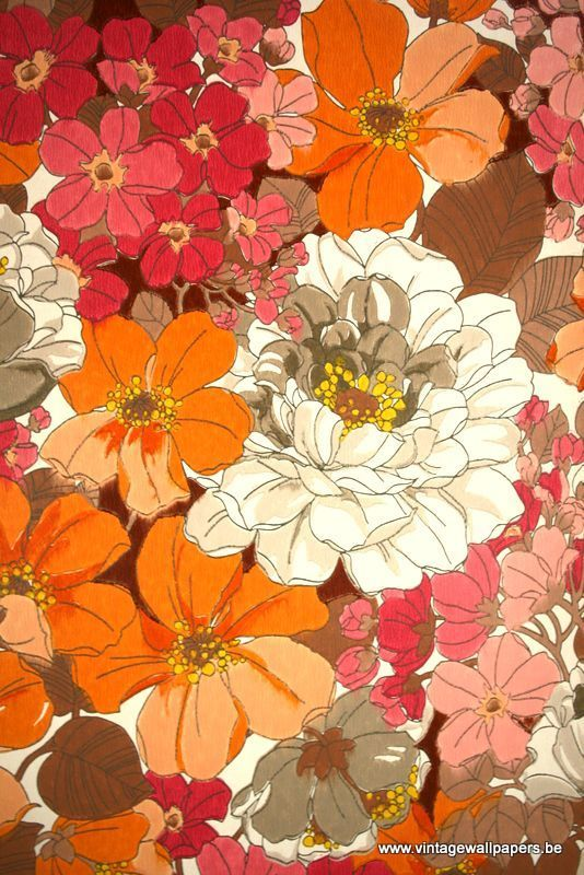 60's and 70's retro floral fabric   Image via vintagewallpapers.be