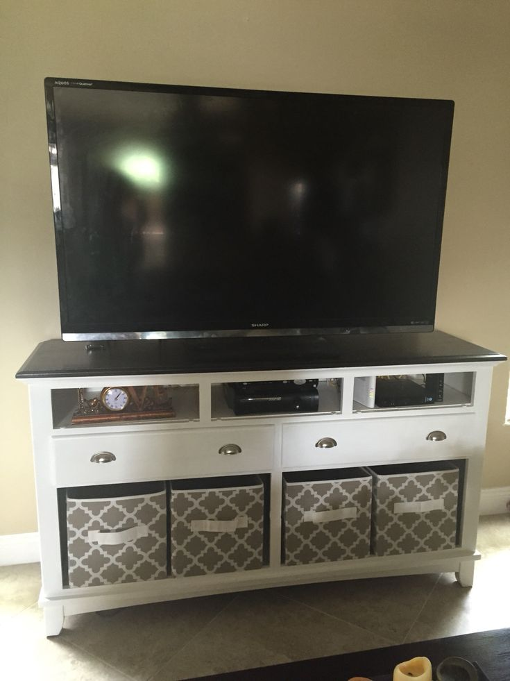 Turn an old dresser into a tv stand. Foldable boxes from walmart