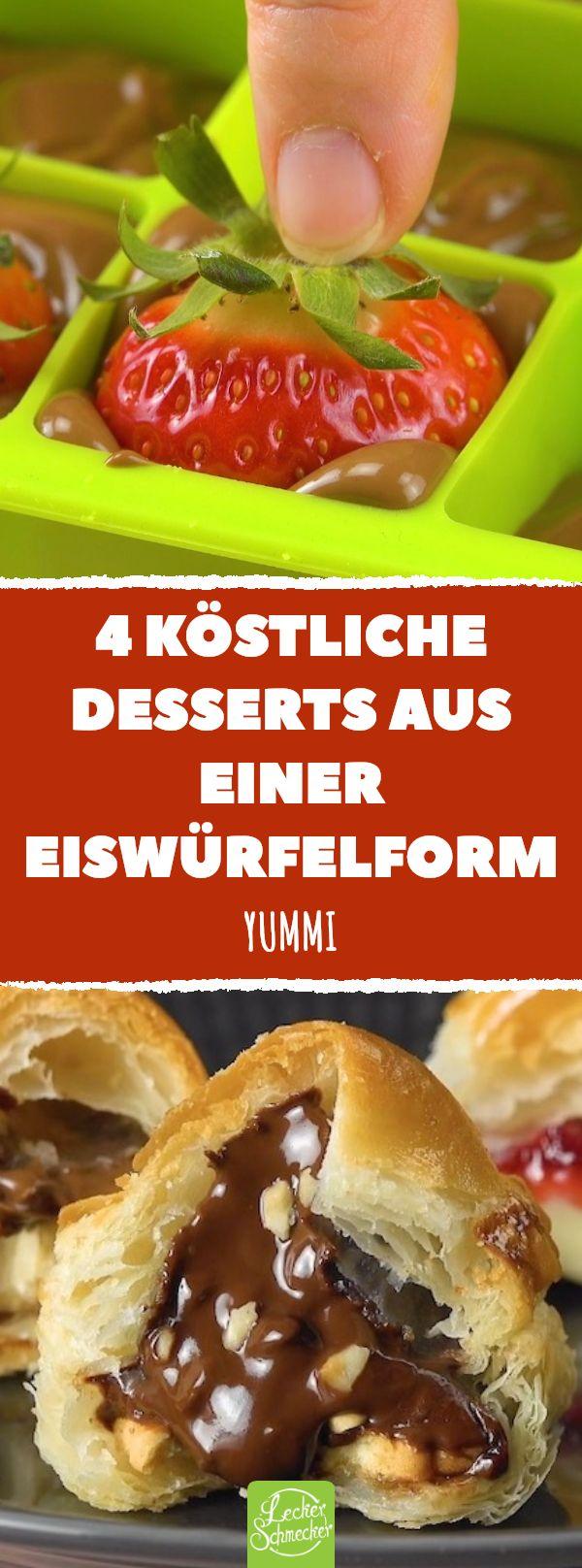 4 köstliche Desserts aus einer Eiswürfelform #lecker #rezepte #dessert #nachti …