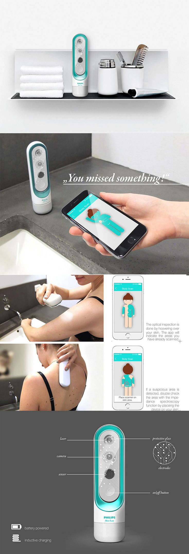 'The Philips Skinscan' is a domestic device that targets the world's most common type of cancer, Melanoma, it is a simple hand-held device that is capable of detecting and diagnosing skin anomalies to look for cancer. Read More: http://www.yankodesign.com/2016/11/16/cancer-awareness-starts-at-home/