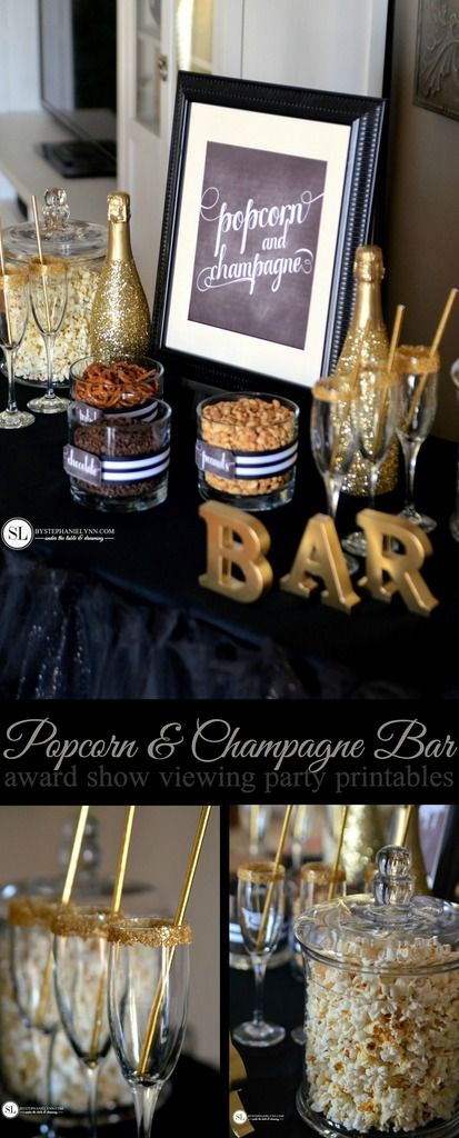 Popcorn and Champagne Bar | award show viewing party #Grammys #Oscars from MichaelsMakers By Stephanie Lynn