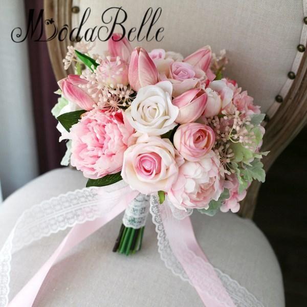 Modabelle Tulip Roses Pink Bridal Bouquet Artificial Peony Rose Bride Flower Bouquet Wedding Bridal Bouquet Pink Flower Bouquet Wedding Bridal Bouquet Flowers