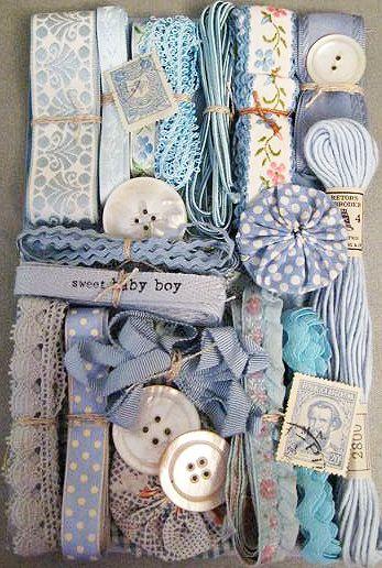Crazy Quilt Embellishment Assortment: Crazy Quilts, Baby Blue, Color Schemes, Blue Lights, Quilts Embellishments, Sewing Accessories, Lights Blue, Embellishments Assort, Sewing Notions