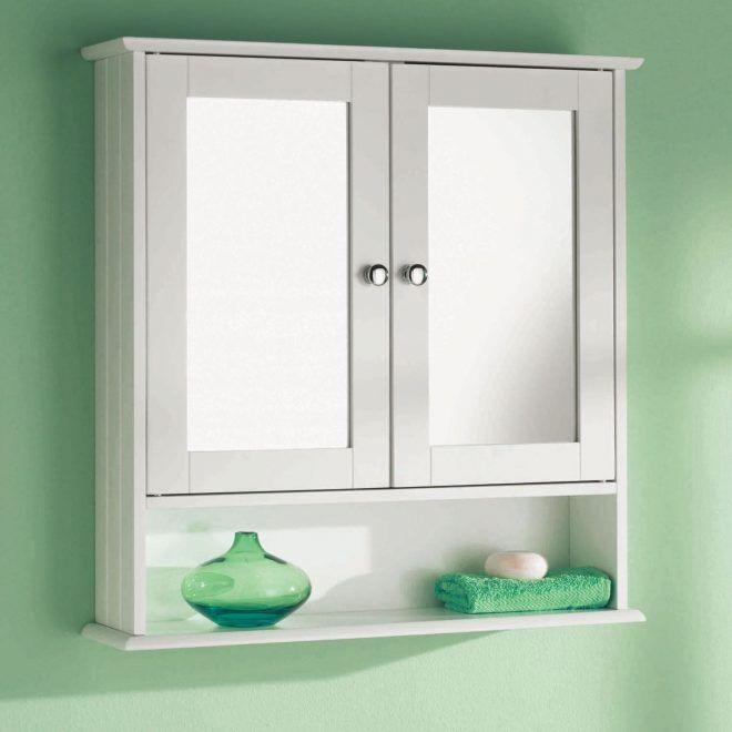 White Wooden Double Mirror Door Indoor Wall Mountable Bathroom Wall Mounted Bathroom Cabinets Bathroom Wall Cabinets Wooden Bathroom Cabinets