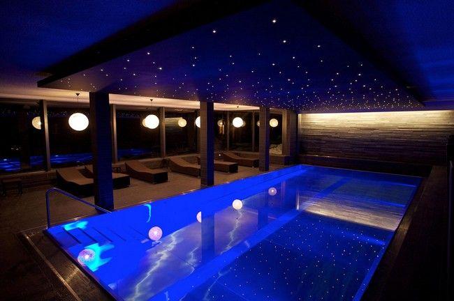 Fiber-optic ceiling above swimming pool