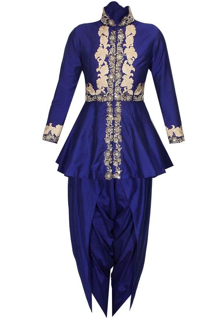 Blue floral dabka and pearl work peplum cape and dhoti pants set available only at Pernia's Pop Up Shop.#perniaspopupshop #shopnow #happyshopping #designer #newcollection #sonaliguptai#clothing