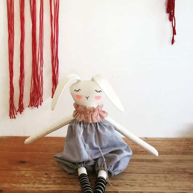Super excited about this little bunny.  She is my favourite yet!  #bunny #buysmall #buylocalsa #dollmakers #dollmakersofsa #localbusiness #ragdoll #clothdoll #cute #boho #macrame #lovelocalza #thatsdarling #rabbitgirl #giftsforgirls #kamersvolgeskenke