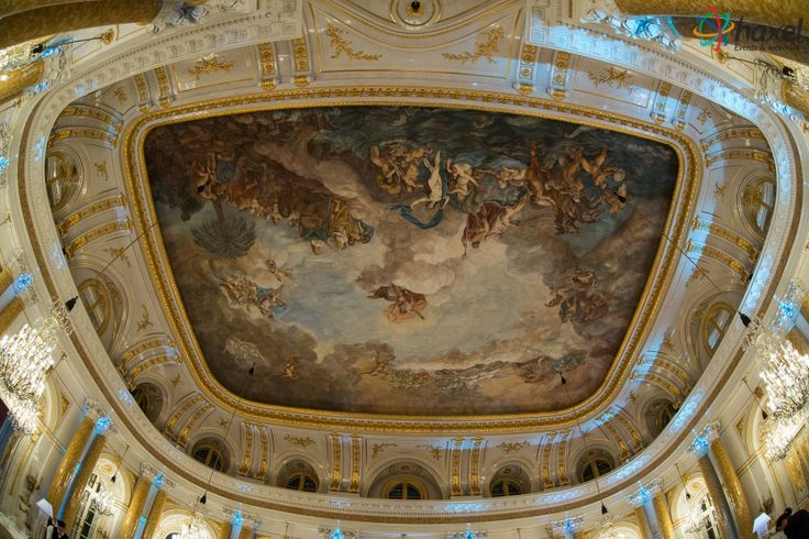 Spectacular ballroom ceiling at the Royal Castle
