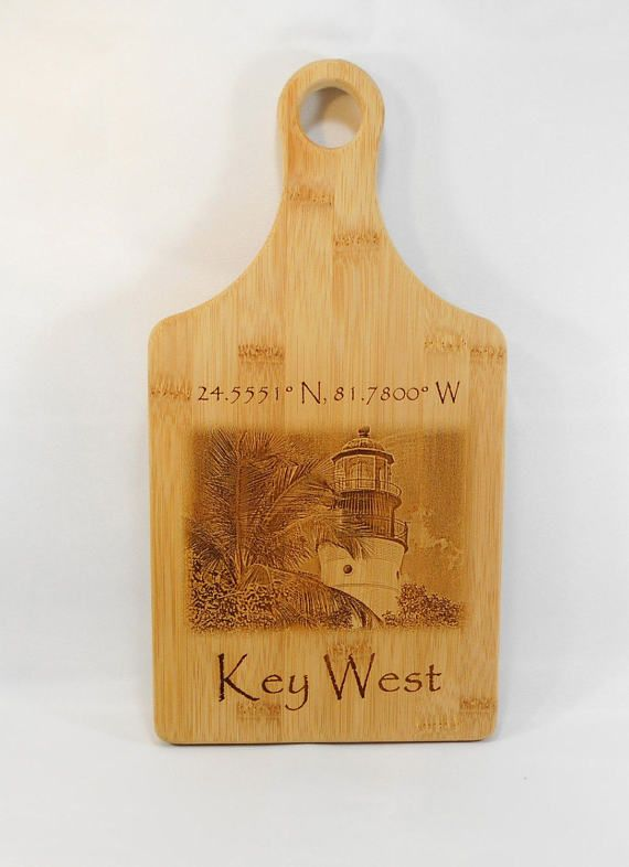 Key West Bamboo Cutting Board wall Art by BlueFireEngraving
