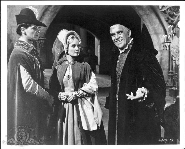 Still of Jack Nicholson, Boris Karloff and Olive Sturgess in The Raven, 1963