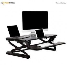 "Big Saving on PrimeCables® Sit to Stand Adjustable Desk Riser ADR for monitor Black- S(26"" 680mm Wide)"