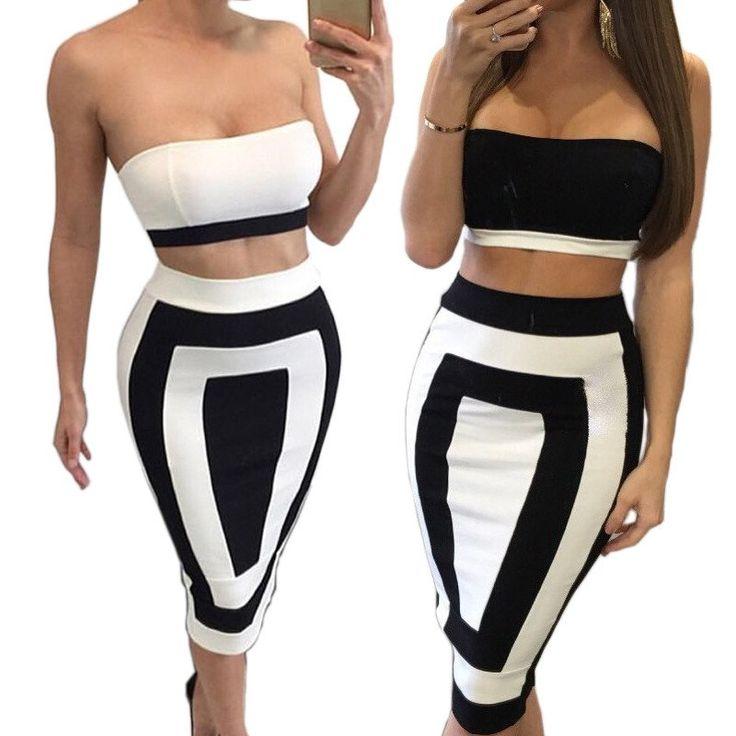 Two Piece Outfit Strapless Zipper Backless Sleeveless High Waist Maxi Dress Kylie Jenner Style -  - 1