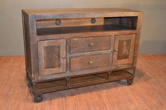 Industrial Rustic Reclaimed wood TV stand Media by RusticShop1