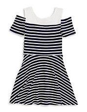 Girls 7-16 Mesh-Accented Cold Shoulder Dress