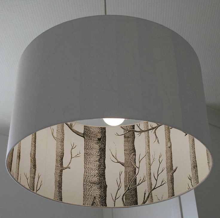 Woods Silhouette Lampshade In Crisp White