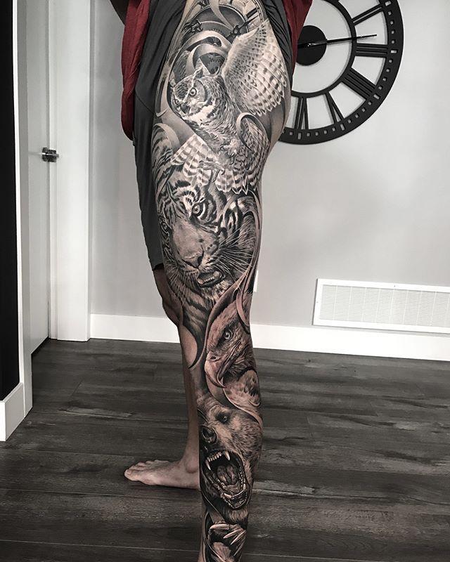 A Few Progress Shots On Warreng44 S Leg Tattooed With Bishoprotary Worldfamousink Mithramfg Leg Tattoo Men Leg Sleeve Tattoo Leg Tattoos