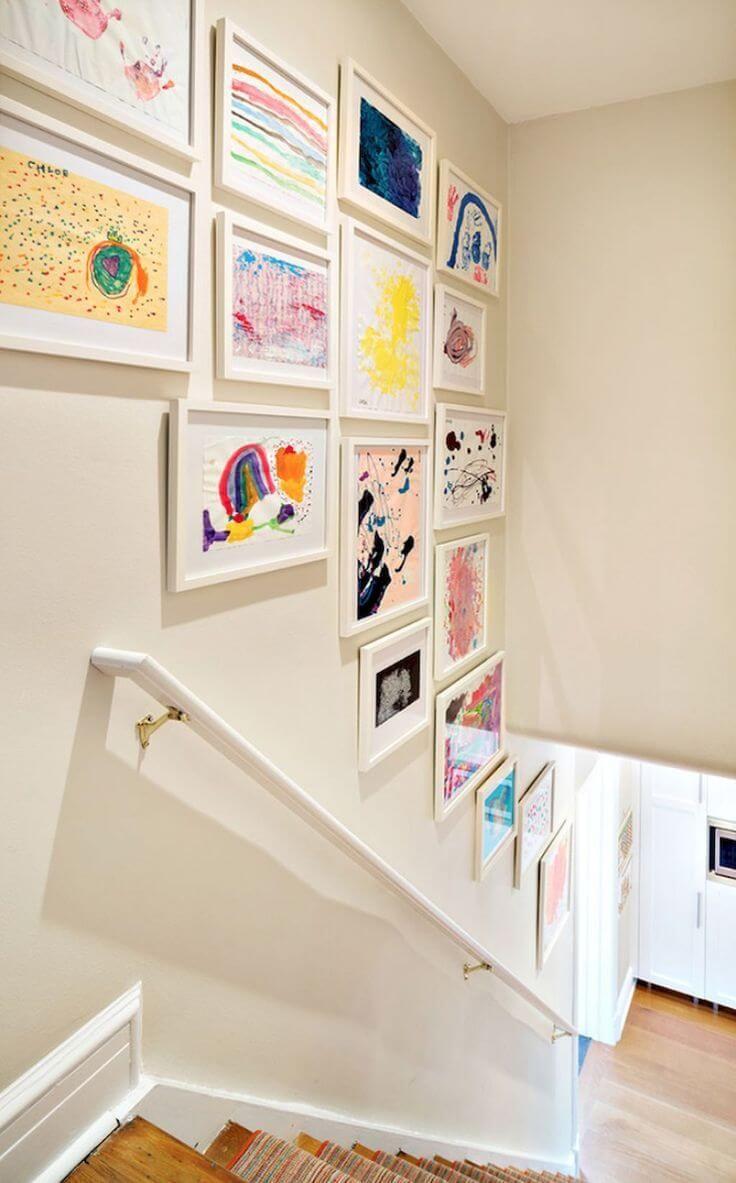 28 Stilvolles Treppenhaus Dekorationsideen für die Anzeige von Pflanzen bis zu Bildern  – Treppen Wände Dekorieren