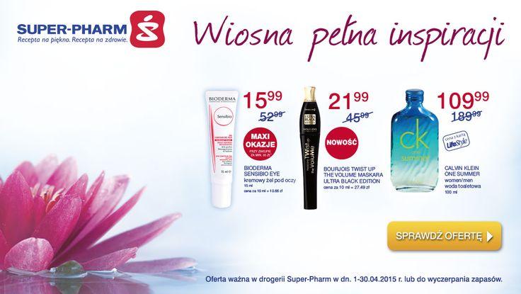 kwiecień- Wiosna pełna kosmetycznych inspiracji zagościła na stałe w drogerii Super-Pharm.  Przywitaj ją z nami nowymi kolorami, nowymi zapachami, zainspiruj się najnowszymi trendami. Całą ofertę Wiosna pełna inspiracji poznasz na http://www.superpharm.pl/gazetka/67/ Odwiedź na już dziś. Pięknie zapraszamy! Oferta ważne do 30.04.2015 lub do wyczerpania zapasów.